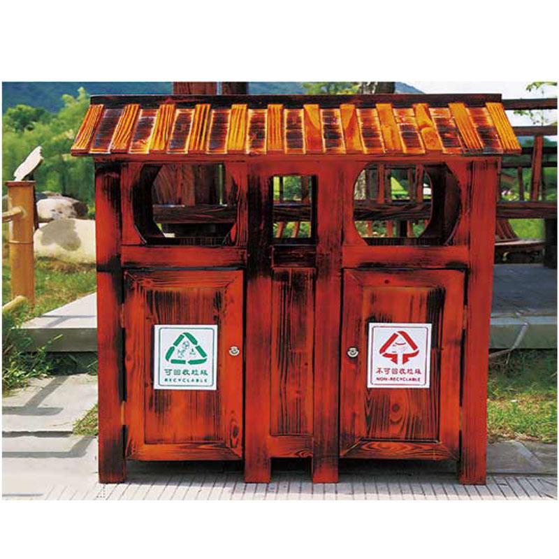 防腐木垃圾桶2