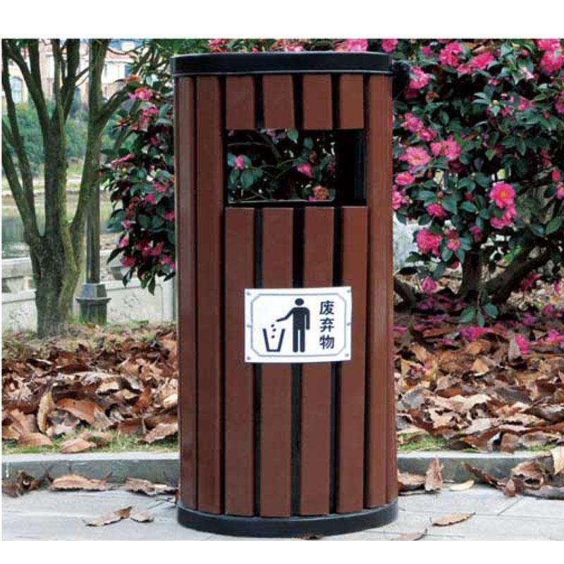 圆筒防腐木垃圾箱