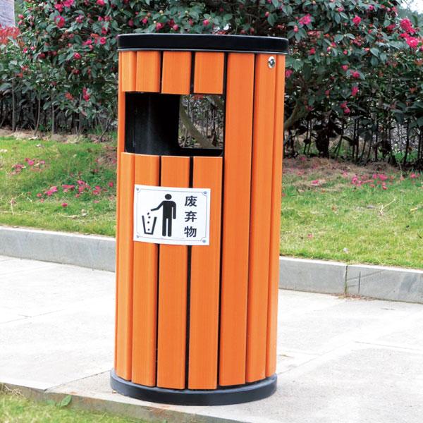 圆筒防腐木垃圾桶(琥珀红)