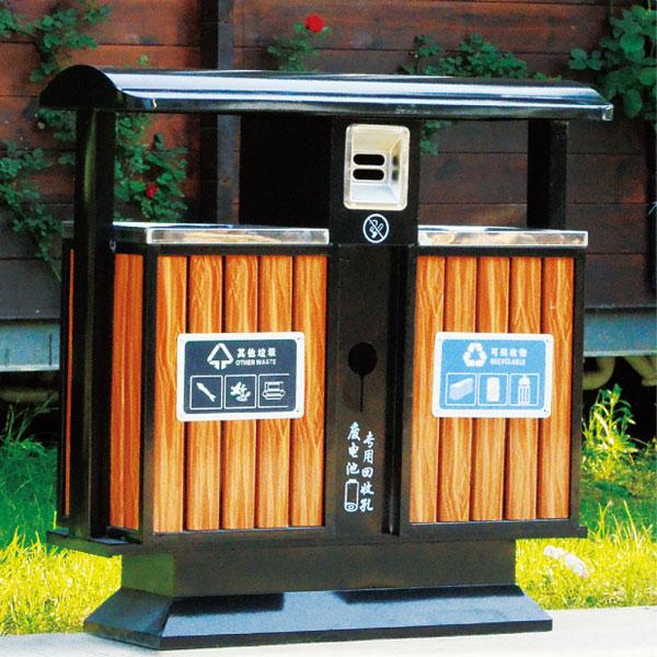 户外钢木垃圾桶(木纹黄)