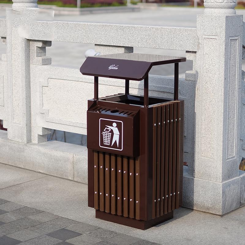 方筒防腐木垃圾桶(单桶)